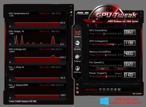 Petikan skrin ASUS GPU Tweak untuk Windows 8.1