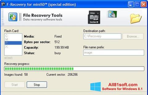 Petikan skrin F-Recovery SD untuk Windows 8.1