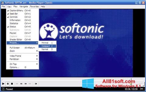 Petikan skrin Media Player Classic untuk Windows 8.1