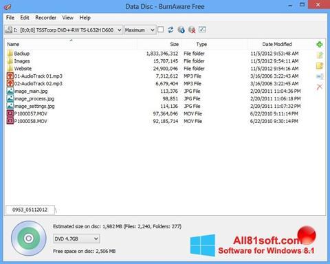 Petikan skrin BurnAware Free untuk Windows 8.1