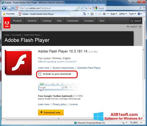 Petikan skrin Adobe Flash Player untuk Windows 8.1