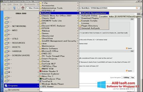 Petikan skrin AviSynth untuk Windows 8.1