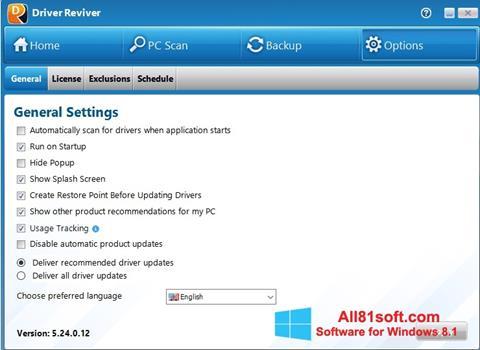 Petikan skrin Driver Reviver untuk Windows 8.1