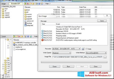 Petikan skrin UltraISO untuk Windows 8.1