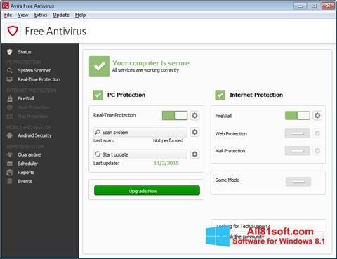 Petikan skrin Avira Free Antivirus untuk Windows 8.1