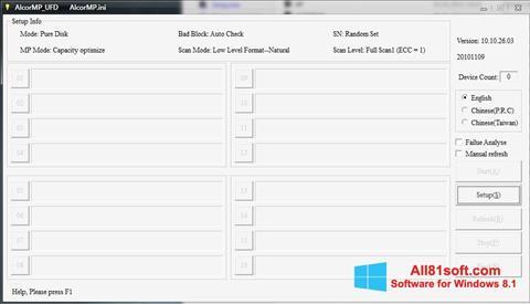 Petikan skrin AlcorMP untuk Windows 8.1