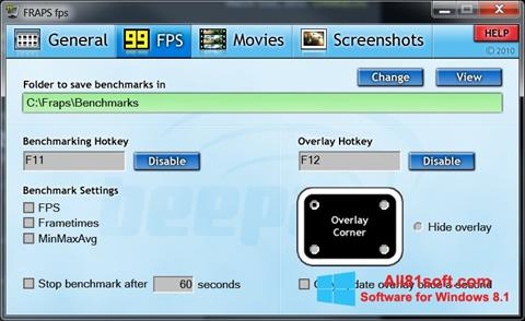 Petikan skrin Fraps untuk Windows 8.1