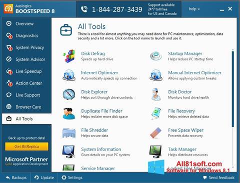 Petikan skrin Auslogics BoostSpeed untuk Windows 8.1