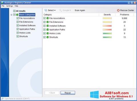 Petikan skrin Auslogics Registry Cleaner untuk Windows 8.1
