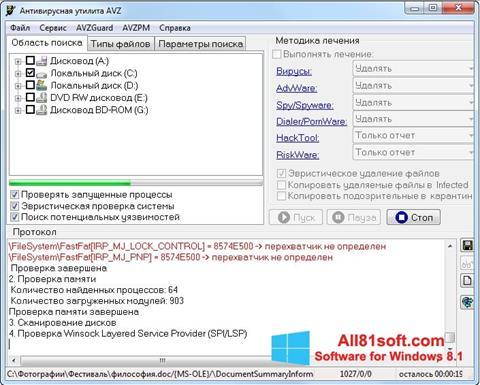 Petikan skrin AVZ untuk Windows 8.1