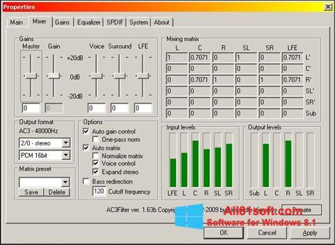 Petikan skrin AC3 Codec untuk Windows 8.1