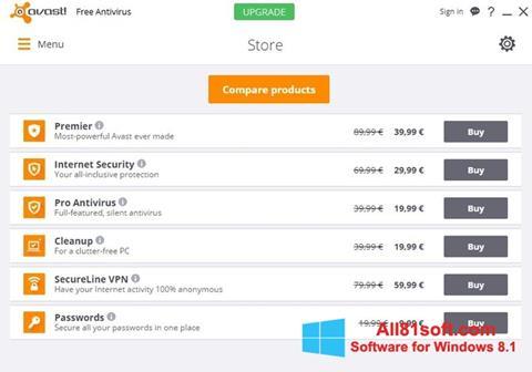 Petikan skrin Avast Free Antivirus untuk Windows 8.1