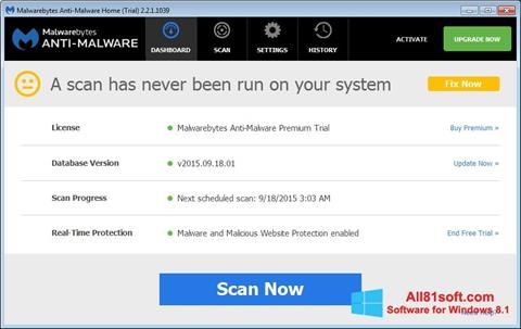 Petikan skrin Malwarebytes Anti-Malware Free untuk Windows 8.1