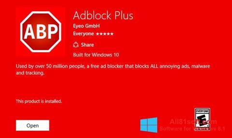 Petikan skrin Adblock Plus untuk Windows 8.1