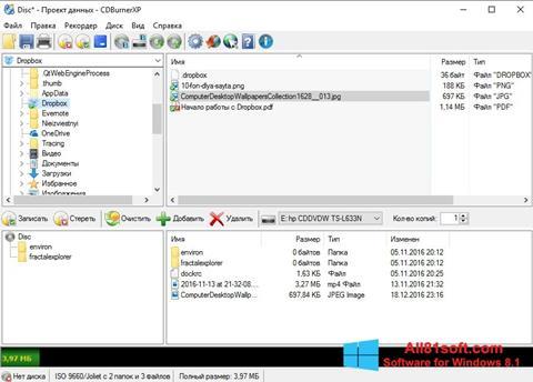 Petikan skrin CDBurnerXP untuk Windows 8.1