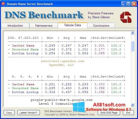 Petikan skrin DNS Benchmark untuk Windows 8.1