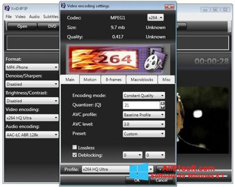 Petikan skrin XviD4PSP untuk Windows 8.1