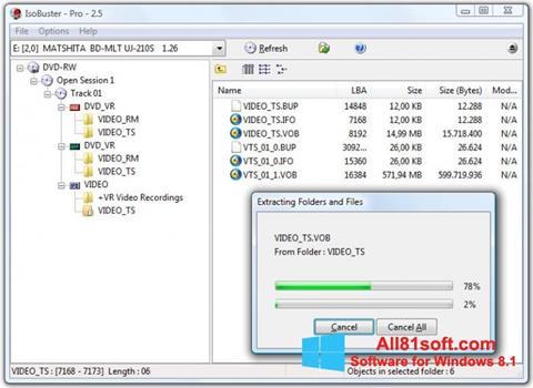 Petikan skrin IsoBuster untuk Windows 8.1