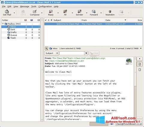 Petikan skrin Claws Mail untuk Windows 8.1