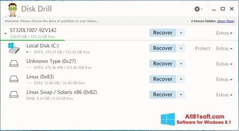 Petikan skrin Disk Drill untuk Windows 8.1
