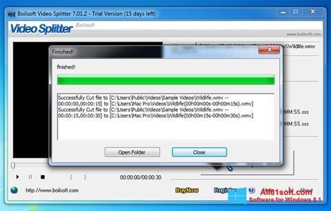 Petikan skrin Boilsoft Video Splitter untuk Windows 8.1