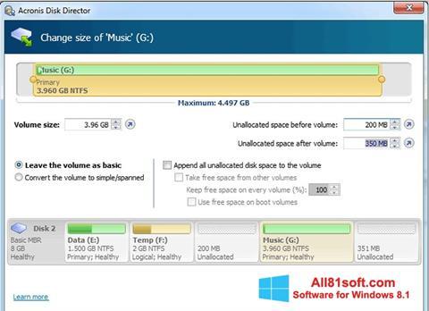 Petikan skrin Acronis Disk Director untuk Windows 8.1