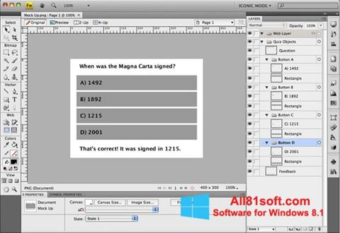 Petikan skrin Adobe Fireworks untuk Windows 8.1