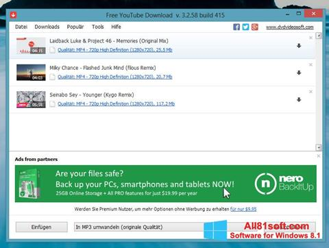 Petikan skrin Free YouTube Download untuk Windows 8.1