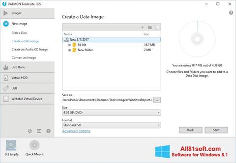 Petikan skrin DAEMON Tools Lite untuk Windows 8.1
