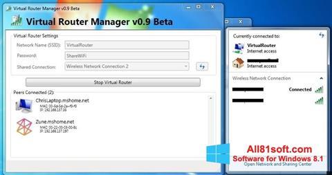 Petikan skrin Virtual Router Manager untuk Windows 8.1