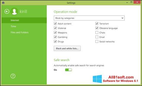 Petikan skrin Dr.Web Security Space untuk Windows 8.1
