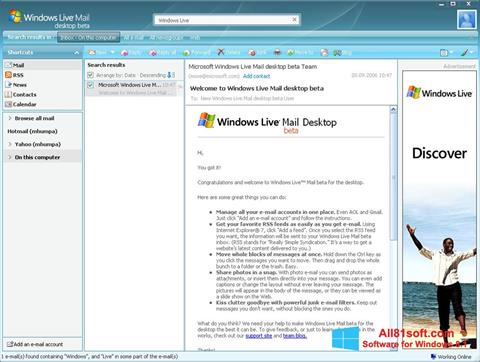 Petikan skrin Windows Live Mail untuk Windows 8.1