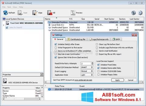 Petikan skrin Active KillDisk untuk Windows 8.1