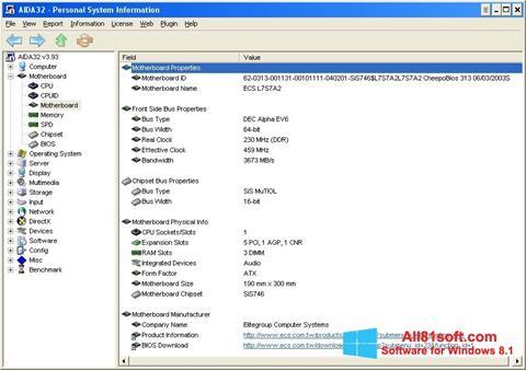 Petikan skrin AIDA32 untuk Windows 8.1