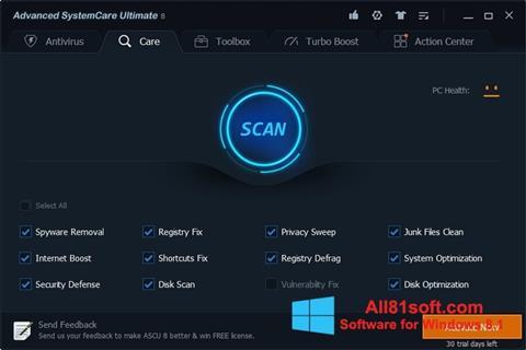 Petikan skrin Advanced SystemCare Ultimate untuk Windows 8.1