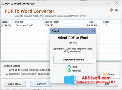 Petikan skrin PDF to Word Converter untuk Windows 8.1