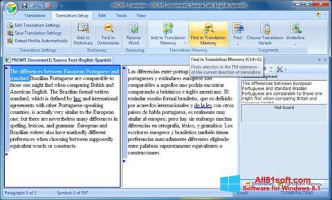 Petikan skrin PROMT untuk Windows 8.1