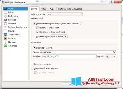 Petikan skrin SMPlayer untuk Windows 8.1