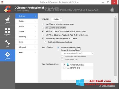 Petikan skrin CCleaner untuk Windows 8.1