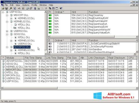 Petikan skrin Dependency Walker untuk Windows 8.1