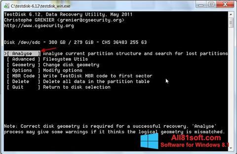 Petikan skrin TestDisk untuk Windows 8.1