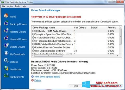 Petikan skrin Driver Genius Professional untuk Windows 8.1