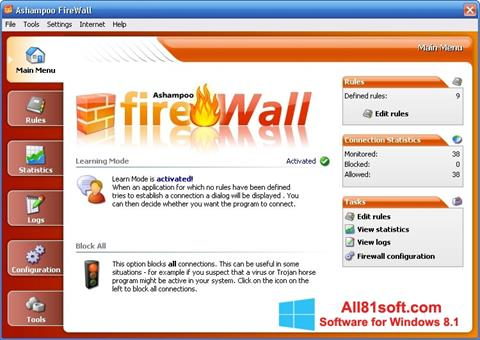 Petikan skrin Ashampoo Firewall untuk Windows 8.1