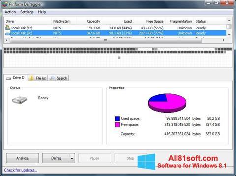 Petikan skrin Defraggler untuk Windows 8.1