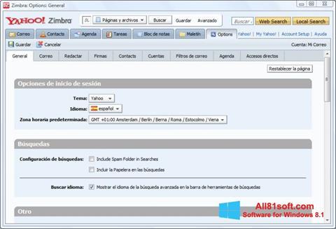 Petikan skrin Zimbra Desktop untuk Windows 8.1