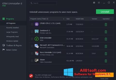 Petikan skrin IObit Uninstaller untuk Windows 8.1